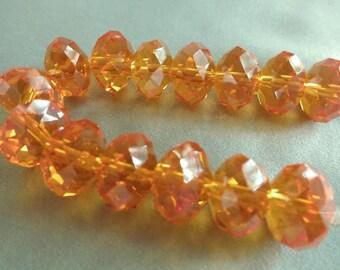 Orange Faceted Crystal Rondelles - 12 x 8mm - 14 Rondelles