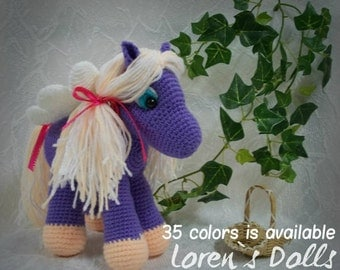 Flying Pony Crochet toy Purple Colour horse Flying horse Crochet horse Pegasus winged horse Crochet animal gift for girls MADE TO ORDER