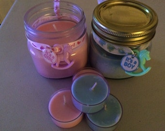 It's a Boy, It's a Girl Baby Powder Scented Baby Shower Party Favors 8 Oz. Soy Candles