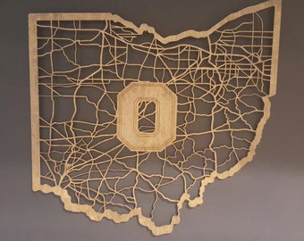 All Roads Lead To Buckeye Nation Block O Wood Cut Map Shaped Like Ohio