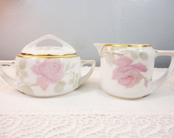 Antique Rosenthal Selb Bavaria Germany Donatello Pink Floral Creamer and Sugar