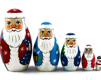 Matryoshka Matreshka Russian Nesting Doll Babushka Father Frost Christmas Set 5 Pieces