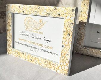 Swarovski Gem, Henna Designed Hand Decorated Photo Frame