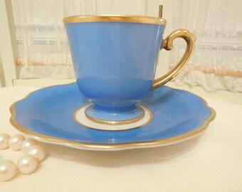 Schwarzenhammer bavaria demitasse cup and saucer blue and gold, Antique Bavarian Demitasse Tea cup and saucer, Blue and gold Tea cup