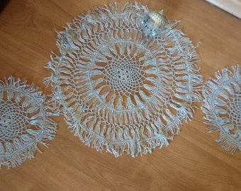 Vintage silver doilies, Set of 3 doilies, Beautiful home decor, Shimmering doilies,