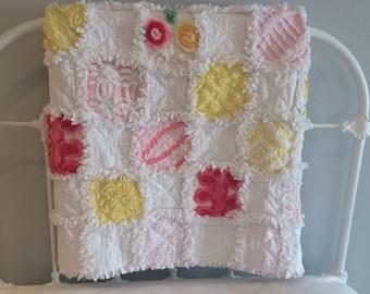 Vintage Chenille Baby Rag Quilt