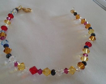 Wife anklet swarovski crystals and multicolored beads