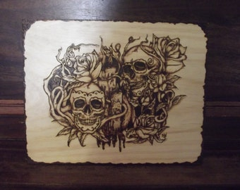 Pyrography tattoo art skulls and candles