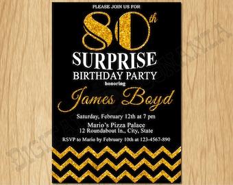 80th Birthday Invitation Gold Glitter Birthday Party Chevron Invite Adult Black Elegant Surprise Party Birthday Printable Digital AB10-80