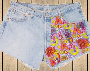 Levis 501 Denim Shorts Cut Offs Red Tab Sugar Skulls Customised Measure as W36