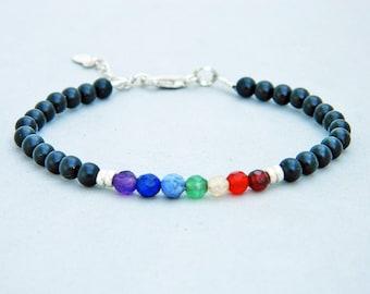 7 chakra bracelet.Onix bracelet. Gemstone bracelet.Sterling silver bracelet.Tiny silver bead bracelet.Friendship bracelet.GE037