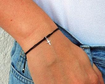 Cross bracelet. Sterling silver bracelet.Tiny silver bead bracelet. Silver beaded bracelet. Friendship bracelet. Cord bracelet.C026