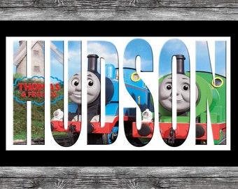 Thomas the Tank Engine name plaque wall art framed