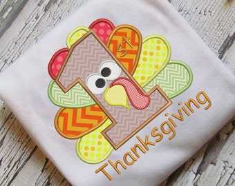 1st Thanksgiving Applique First Embroidery Design Instant Download - 0099