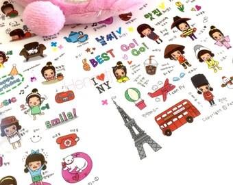 4 Sheets PVC Stickers. TRAVEL Vacation Daily Diary Transparent Deco Stickers. Filofax KIKKI.K Erin Condren Life Planner decorations