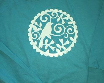 Long sleeve patterned bird shirt