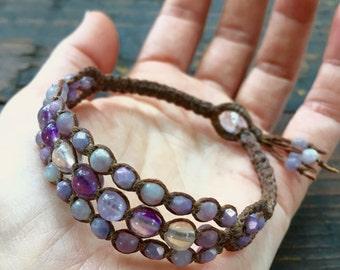 Amethyst Macramé Bracelet - Purple Beaded Wrap Bracelet - Amethyst Wrap Bracelet - Purple Macramé Cuff - Amethyst Macramé Jewelry