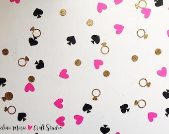 Heart Confetti | Diamond Ring Confetti | Ring Confetti | Spade Confetti | Pink, Gold, and Black Confetti | Bridal Shower Decorations