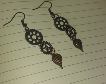 Two gears and hot air balloon earrings