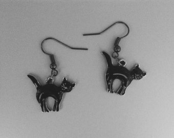 Black Cat Earrings, Halloween Jewelry, Hypo Allergenic.