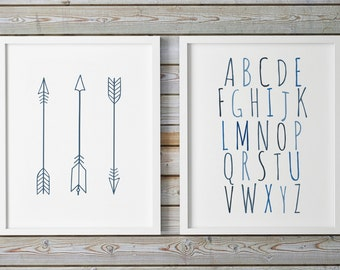 Nursery Alphabet, Navy Blue Arrows Print, Set Of 2 Nursery Wall Art, ABC Wall Art, Alphabet Art, ABC Print, Nursery Set, Tribal Arrows Print