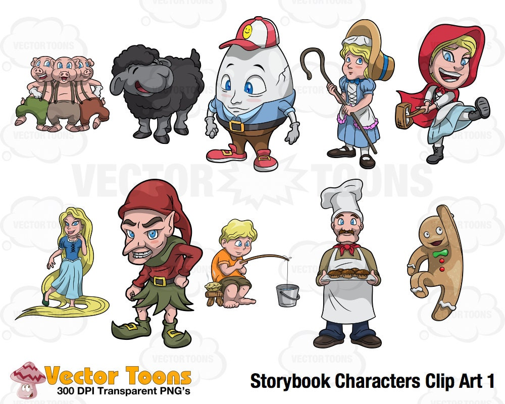Storybook Characters Clip Art 1 Digital Clipart Digital