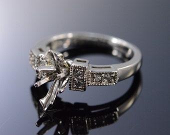 14K 0.16 Ctw Diamond 10x5mm Semi Mount Engagement Ring Size 4.75 White Gold