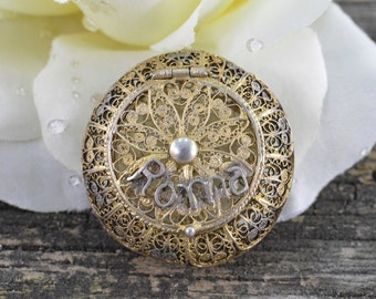 800 VINTAGE Roma/Rome Filigree Gold Gilt/Sterling Pill Box/Rosary 18.9x36.9mm - 11.1g - ES978