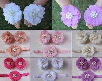Barefoot Baby Sandals Set Girl Flower Shoes Newborn Flower Headband Hair Band Christening Photo Prop