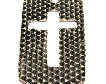 American Pewter Cross On A Dog Tag Charm