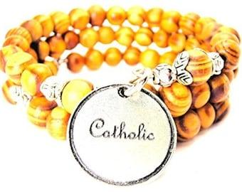Handmade Catholic Circle Wrap Around Wood Bracelet