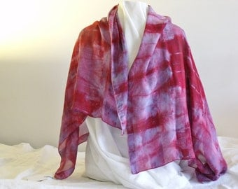 Shawl silk charmeuse ice dyed, shibori bound, hand painted.