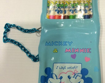Mickey &Minnie coloring pencils and note,walt disny production,made in Japan