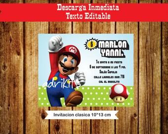 Invitation Mario Bros
