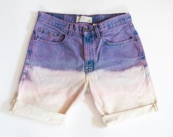 LEVIS PASTEL bleached DENIM hand dyed jean shorts
