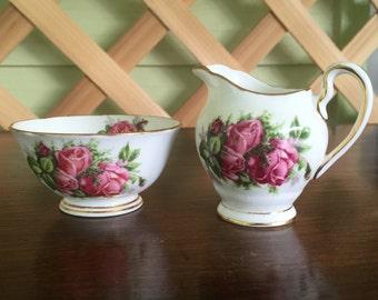 1950 Tuscan Fine English Bone China Moss Rose - Creamer & Sugar