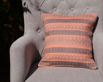 Peach Coral Salmon Pink Silver Thread Cushion Cover