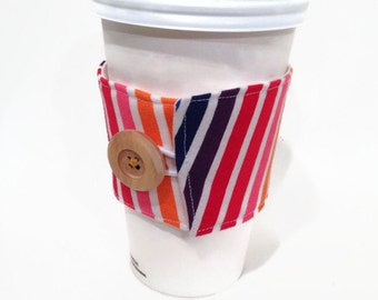 Coffee Cuff - Rainbow/White Stripe