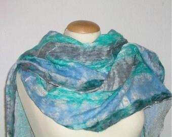 Felt scarf, Nuno turquoise/grey/blue, silk Merino Wool