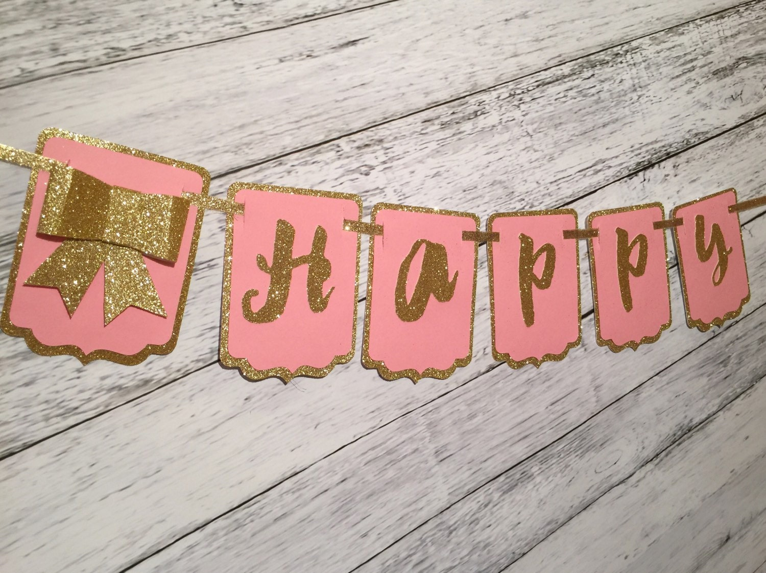pink gold happy birthday banner gold glitter by afancyhostess