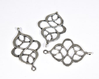 8 Connector charms | filigree connectors | filigree bracelet connector jewelry | silver connector filigree charms | SC1380