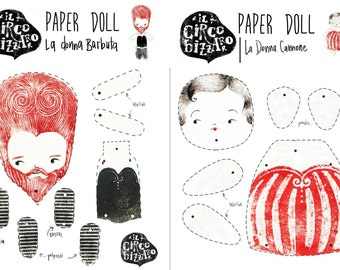 "Instant PDF download - PAPER DOLL- ""Il circo bizzarro"" - ""Bizarre Circus "" set of 6 characters"