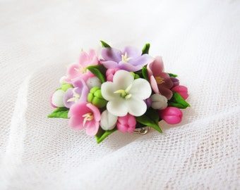 Clay flower brooch - floral brooch - pink brooch - flower boutonniere - lilac, rose, cold porcelain, flowers jewelry, nature jewelry flower
