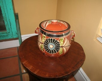 Vintage Mexican Bean Pot with lid
