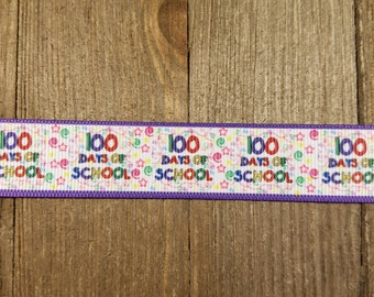 100 Days of school 7/8 Inch Grosgrain Ribbon