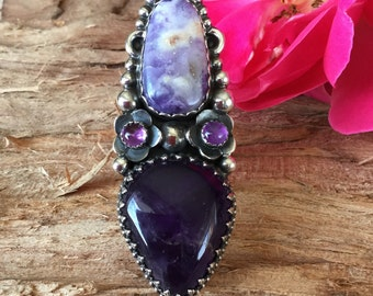 Tiffany Stone and  Amethyst Statement Ring/ Artisan Handmade/ Sterling Silver/Southwestern/ BohoChic/ size 7