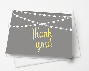 String of Lights Thank You Note Card Printable | INSTANT DOWNLOAD | Bridal Shower Gray & Yellow | Baby Shower Gender Neutral | Print at Home