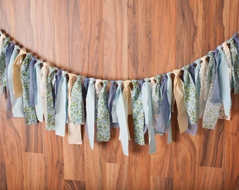 Country Chic, Lace, floral rag banner, garland, fabric banner, backdrop