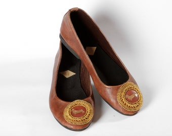 Ballet pumps Dachshund handmade leather ballet flat shoes with czech beads in gold