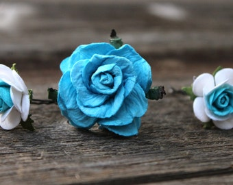 Paper Flower, Bobby Pins, Floral Hair Pins, Blue, Flower Hair Pins, Wedding, Floral Bobby Pins, Wedding Hair Pins, Small Rose Hair Pins Blue